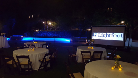 Outdoor Projector Screen at Night